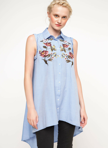 DeFacto İşlemeli Gömlek Mavi